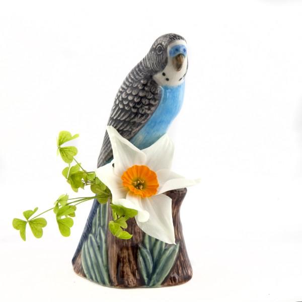 66102--Vase Wellensittich blau