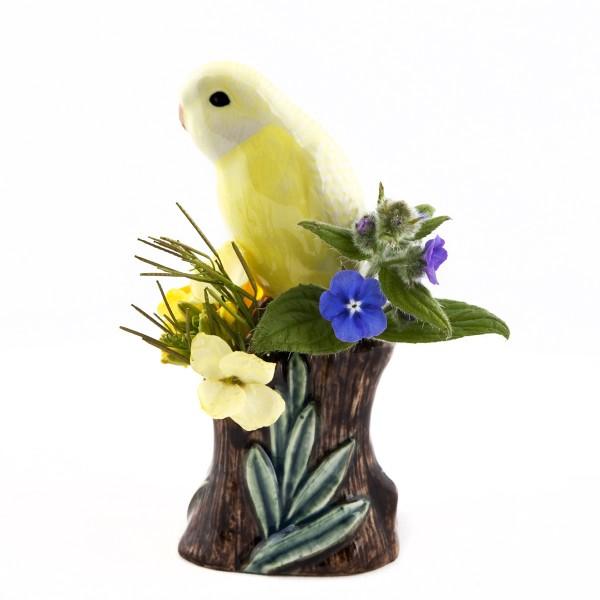 66103--Vase Wellensittich gelb