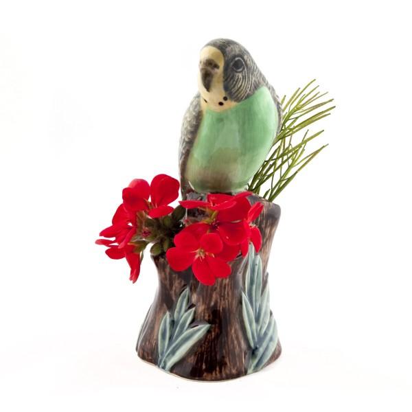 66104--Vase Wellensittich grün